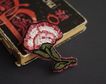 Carnation brooch Free shipping! beadwork beadembroidery brooch flower brooch pink flower