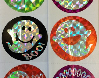 FREE SHIPPING - 50 Happy Halloween Foil Prism Ghost  Stickers Party Favors Envelope Seals Teacher Supply