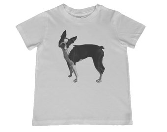 Child Boston Terrier Tshirt - other colors personalization available, youth sizes xs, s, m, l
