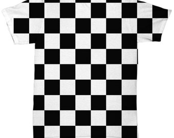 Checkerboard Men's All Over Tee, Men's Graphic Tee, Spring 2017 Men's Tee, Black and White Tee, Gift for Him, Men's Fashion, 90's Tee