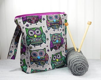 Owl knitting bag, crochet project bag, knitters gift, knitting zipper pouch, gift for knitter, Christmas gift, work in progress