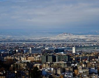 Snow dusted city