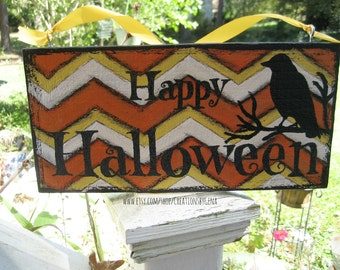 Hand Painted Distressed Chevron Happy Halloween Wood Sign with crow