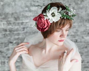 Bridal Floral Crown Wedding Boho Flower Crown Burgundy, Flower Crown Wedding Winter, Floral Headband Marsala Wedding Floral Crown Girls