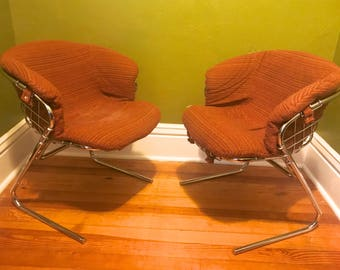 Pair of Original 1970s Italian Gastone Rindali for Rima Cantilever Mid Century Vintage Chrome Basket Chairs in Perfect Condition