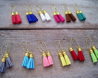 Colorful Tassel Earrings, Faux Suede Tassel Earrings, Tassel Dangle Earrings, Boho Earrings, Gold Plated Kidney Wires, Gift For Her