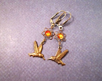 Hummingbird Earrings, Orange Glass Stones and Bird Charms, Brass Dangle Earrings, FREE Shipping U.S.