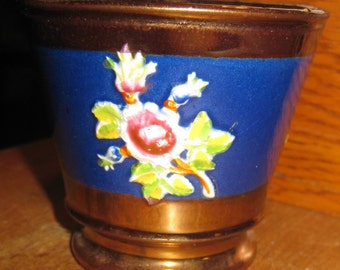English Copper Lustre Handleless Cup With Floral Decoration