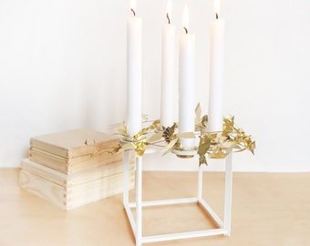 White birch Candle holder - four candles - Home Decor - geometric - cube shape - brass inserts