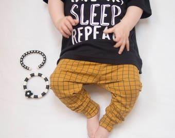 Baby Leggings - Toddler Leggings - Girls Leggings - Mustard Leggings - Grid Leggings - Baby Gift - Baby Pants - Baby Clothing - Baby Clothes