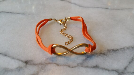 Clearance Set Of 10 Orange Leatherette Bracelets With Infinity