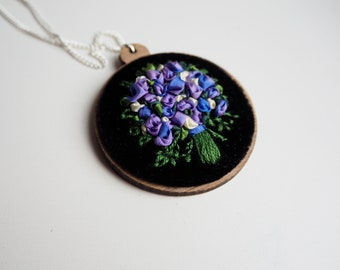 Hand Dyed Ribbon Embroidered Purple and Blue Floral Bouquet Necklace | Jewelry | Handmade Necklace