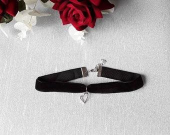 Black Velvet Choker With Heart Pendant, Choker, Velvet Choker