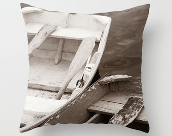 Nautical Decor-Boat Decor-Toss Pillow-Row Boats-Toss Pillow-Coastal Home Decor-Faux Suede Pillow Cover-Sofa Pillow Cover-Rectangular Pillow