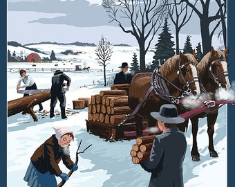 Lancaster County, Pennsylvania - Firewood Winter Scene (Art Prints available in multiple sizes)