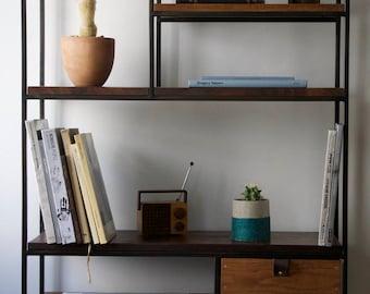 Modern Industrial Bookshelf System