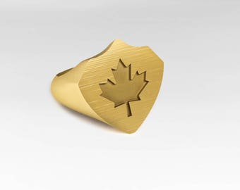 Canada-ring seal ring, gold ring, Meaple leaf, maple leaf, statement ring
