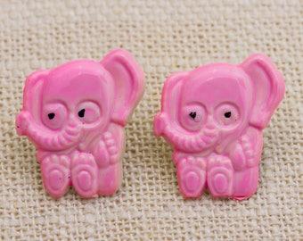 Pink Elephant Vintage Earrings Enamel Pierced Earings Studs 7TU