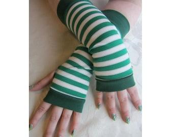 Green & White Striped Fingerless Gloves