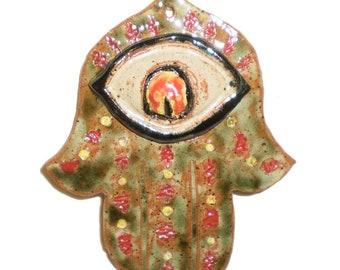 Hamsa Angry Red Eye Ceramic Wall Hamsa