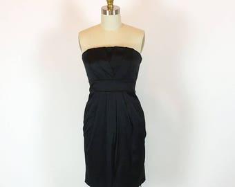 Vintage 80s Shelf Bust Dress | Black Party Dress | Wiggle Dress | Small