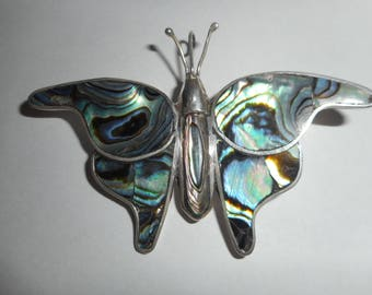 OBO - Mexico Sterling Silver & Abalone Butterfly Vintage Brooch Pin
