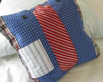 """Memory NECKTIE PILLOW COVER Brooks Brothers Shirt & Striped Bauer Tie, Gray Burgundy Plaid Flannel, 16"""" sq Fiber Art, Tailored Fathers Day"""