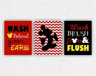 INSTANT DOWNLOAD Mickey bathroom Wall Art, Wash brush floss flush, Wash behind your ears, Disney baby boy bathroom decor Set of 3, 8x10