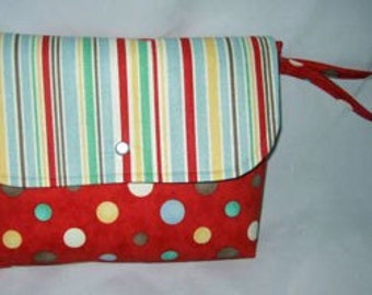 On the Go Diaper Wipe Case | Wristlet Storytime Red Polkadot fabric | Ready to Ship