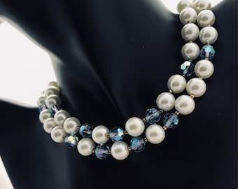 Double Strand Faux Pearl and Blue Necklace