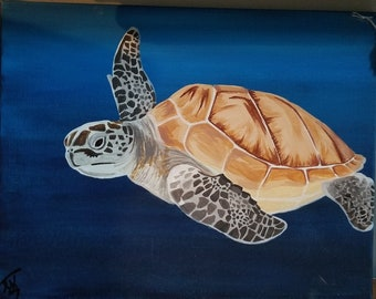 Underwater Sea Turtle on Canvas