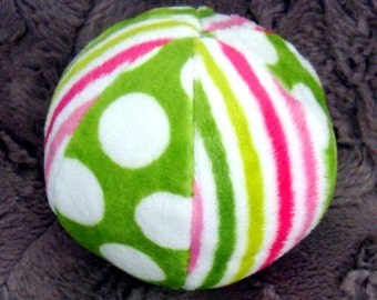 """Chimes Jingle - or - Bird Tweet - Ball -  Minky Ball for Baby or Puppy -  Listen to the chimes - 4.5"""" or 7"""""""