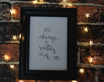 Peter Pan - hand written calligraphy quote
