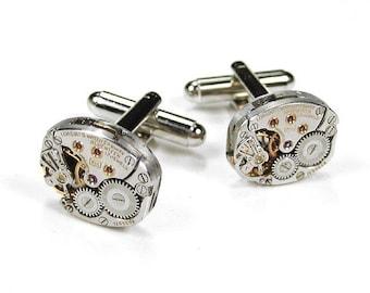 LONGINES Mens Cufflinks Steampunk Jewelry Ruby Jewel Watch Cuff Links Groom Wedding Anniversary Fiancee Cufflinks - Jewelry by edmdesigns