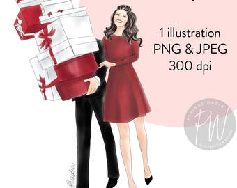 Watercolour fashion illustration print, Christmas girl 4, Printable art, fashion clipart, instant download, fashion print