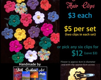 Beautiful Flower Hair Clips, hand crocheted and assembled with love