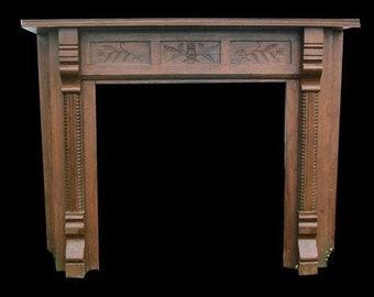 Vintage Oak Owl Fireplace Mantle