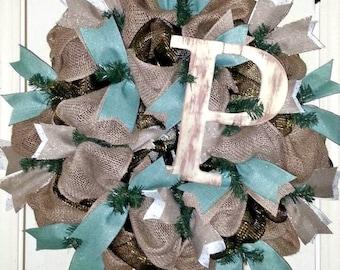 Monogram wreath for front door, Initial letter wreath, burlap wreath, initial door hanger, personalized wreath, burlap monogram wreath