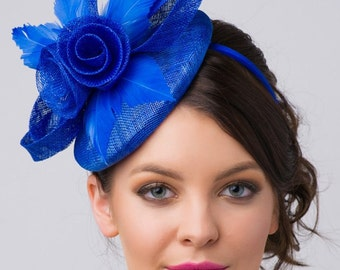"Royal Blue Fascinator - ""Emelia Rose"" Royal Blue Fascinator Hat Headband w/ Round Sinamay Base"