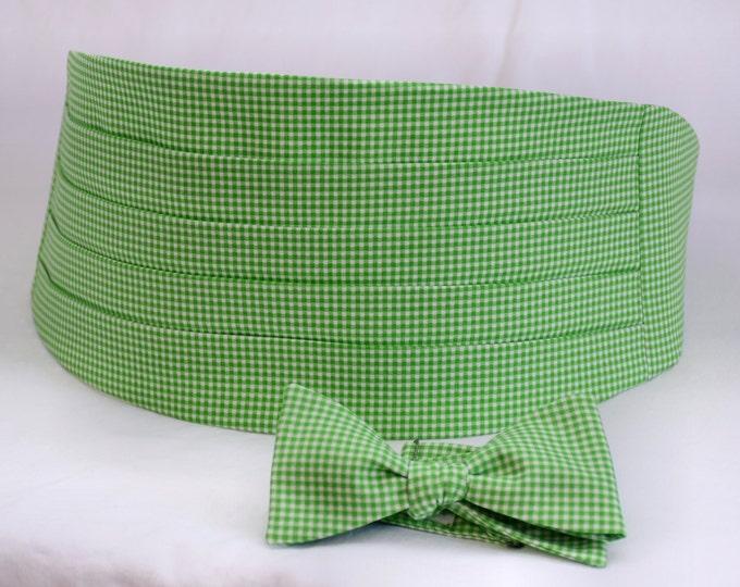 Cummerbund & Bow Tie set, wedding formal wear, groom bow tie set, groomsmen gift, green wedding party cummerbund, gingham cummerbund set,