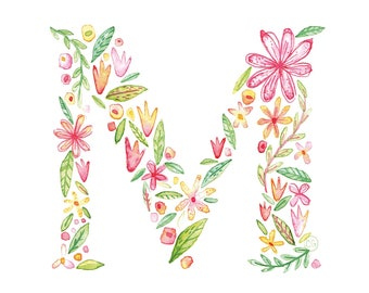 M Uppercase m | Letter, typographic, alphabet. Wall art, print, gift, watercolour, floral