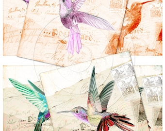 Vintage hummingbird digital collage sheet 4x4 inch tiles instant download and printable for scrapbooking, coasters