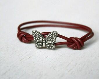 Butterfly Leather  Bracelet (many colors to choose)