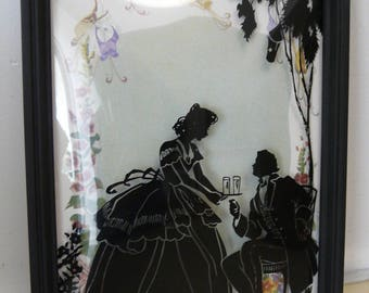 Vintage Victorian Sillouette Painting on Convex Glass Romantic 6 in x 8 in