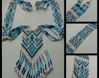 "Blue beaded necklace ""Synevyr"""