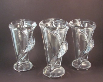 Vintage Art Vannes France Crystal Calla Lily Clear Glass Vase Set of Three Wedding Decor Bridesmaid Gift