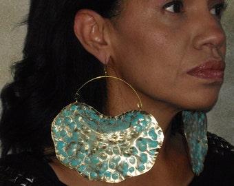 Vintage Rustic African Verdesgris Patina earrings Afrocetric Earrings