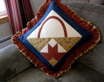 Quilted Thimbleberries Throw Pillow