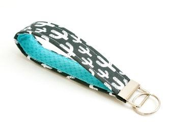 Cactus Keychain - Key Fob - 5 Inch Key Ring Wristlet - Loop Keyring - Cute Key Strap - Short Wrist Lanyard - Black, White, Aqua, Teal
