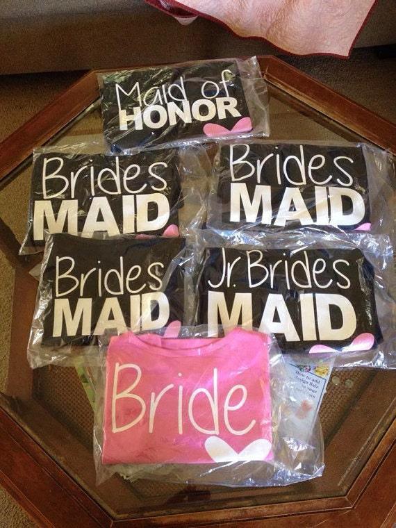 Free Shipping Diy Bridal Party Shirt Vinyl Transfers Bride